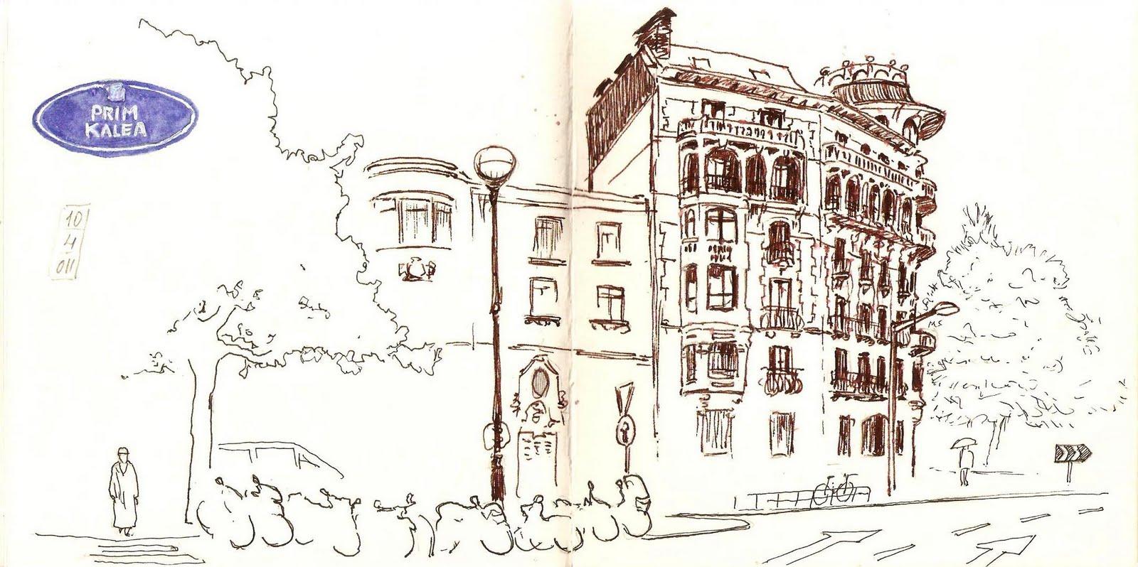 Calle Prim .Donostia.Dibujo. Joaquín Aragón.